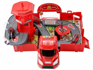 Camion 2 in1 transformers AliBibi, set garaj cu 3 masinute si un elicopter inclus