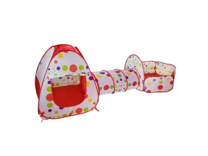 Set cort de joaca pentru copii 3 in 1 Alibibi cort, tarc si tunel rosu