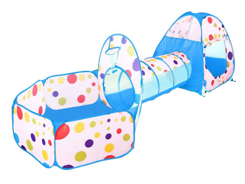 Set cort de joaca pentru copii 3 in 1 Alibibi cort, tarc si tunel albastru