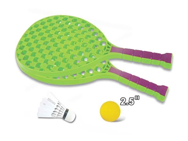 Set sport multifunctional 5 in 1 Alibibi ce contine cos minge baschet, rachete badminton, fileu