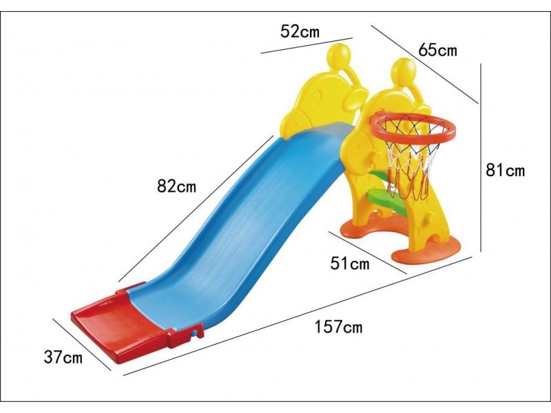 Tobogan 2 in 1 pentru copii AliBibi cu cos de baschet